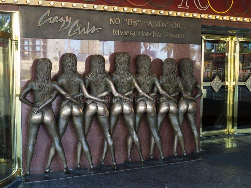 De gekke Meisjes ondertekenen in Riviera Las Vegas stock fotografie