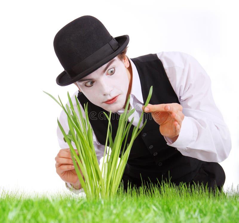 De gekke tuinman bootst na. stock afbeelding