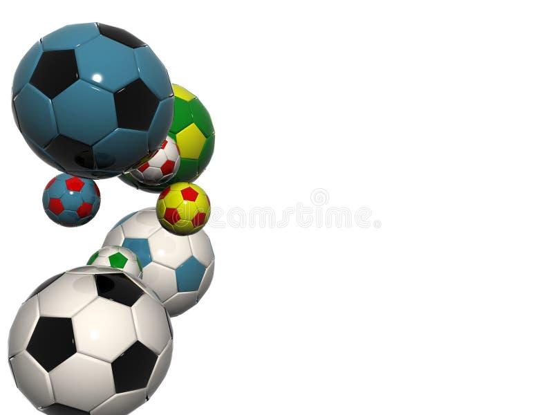 De gekleurde ballen van het voetbalvoetbal vector illustratie