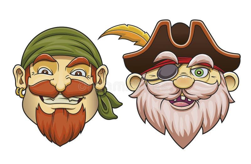 De gekleurde beeldverhaal overzeese piraat leidt vectorillustratiereeks royalty-vrije stock foto's