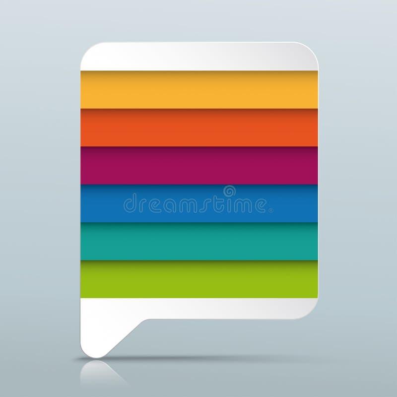 De gekleurde Bel Gray Mirror van de Rechthoektoespraak 6 Opties vector illustratie