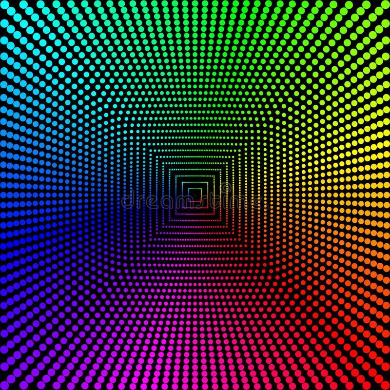 De gekleurde cirkels, ballen op een zwarte achtergrond is geïsoleerd Modieuze Vectorillustratie voor Webontwerp vector illustratie