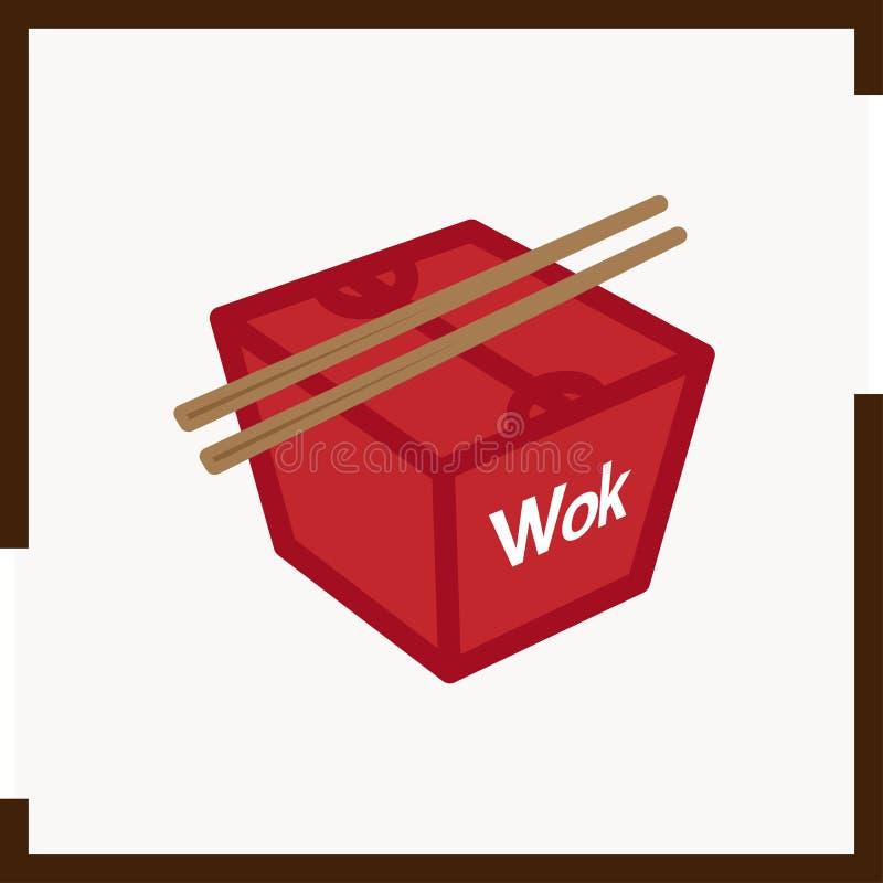 De de gekleurde doos en eetstokjes van de pictogramwok, die in een vierkant wordt geplaatst royalty-vrije stock fotografie