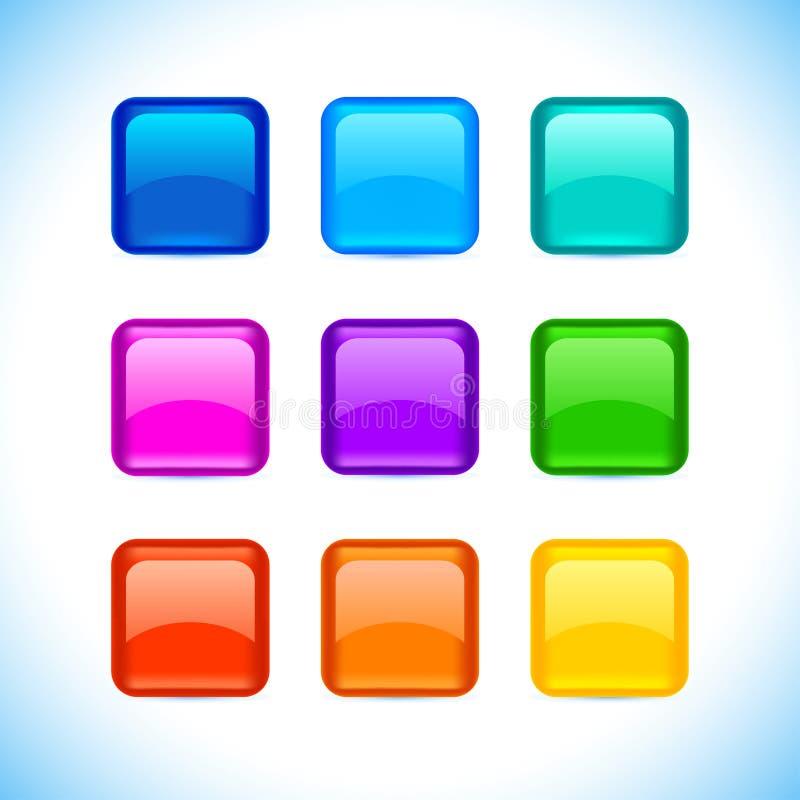 De gekleurde gematteerde spatie maakte vierkantenknopen met kleur en bezinning over witte geplaatste pictogrammen rond vector illustratie