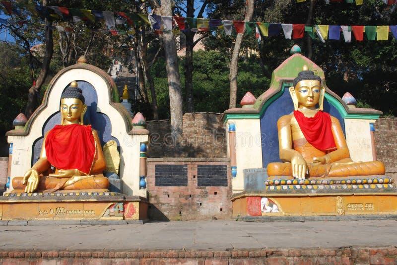 De gekleurde gezette standbeelden van Boedha - swayambhunath-Nepal royalty-vrije stock fotografie