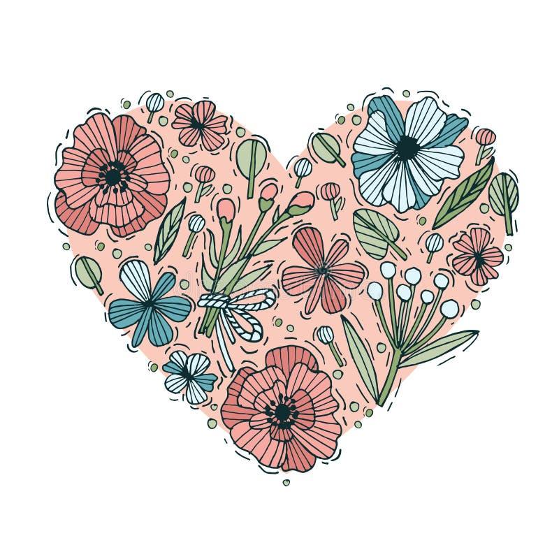 De gekleurde hand trekt bloemen en bladerenhartvorm Gegraveerde stijlbloemen De kaart van valentijnskaarten Vector illustratie royalty-vrije illustratie