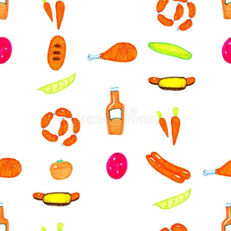 De gekleurde heldere hand getrokken tellers chiken, komkommer, hotdog, tomaat, worst naadloos patroon stock illustratie