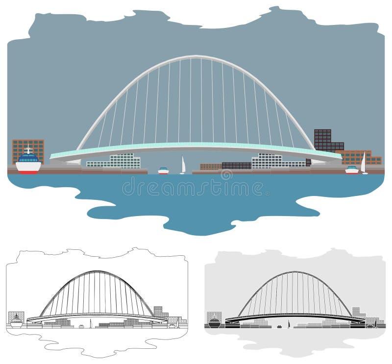 De de gekleurde horizon en mening van het Gatesheadmillennium Brug rond stock illustratie