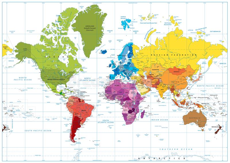 De gekleurde illustratie van de wereldkaart vlek royalty-vrije illustratie