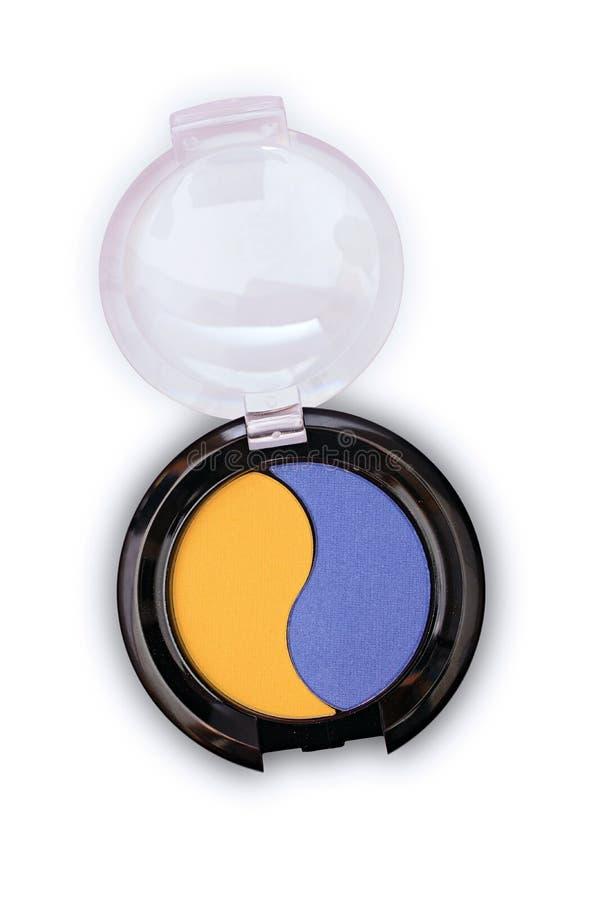 De gekleurde oogschaduw voor maakt omhoog in zwarte doos als steekproef van cosmetische product stock afbeeldingen