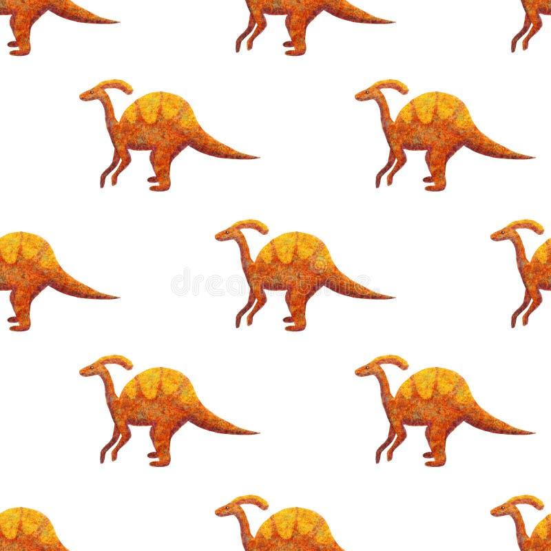 De gekleurde sinaasappel van Parazaulorf van het Dinosauruspatroon met geel stock illustratie