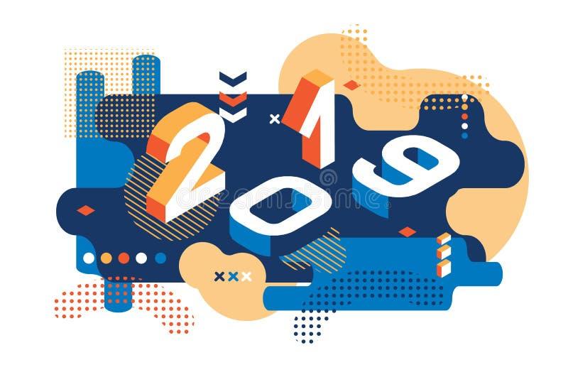 2019 de Gekleurde stijl van Memphis Banner met 2019 Aantallen vector nieuwe jaarillustratie vector illustratie