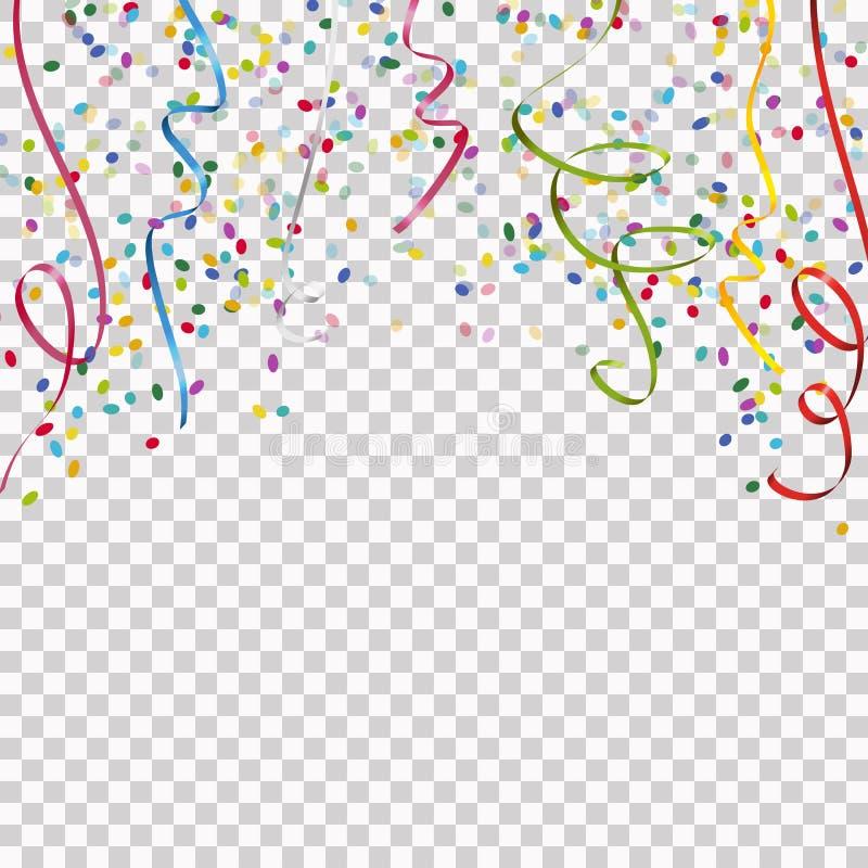 de gekleurde wimpels en confettienachtergrond met vector transparen vector illustratie