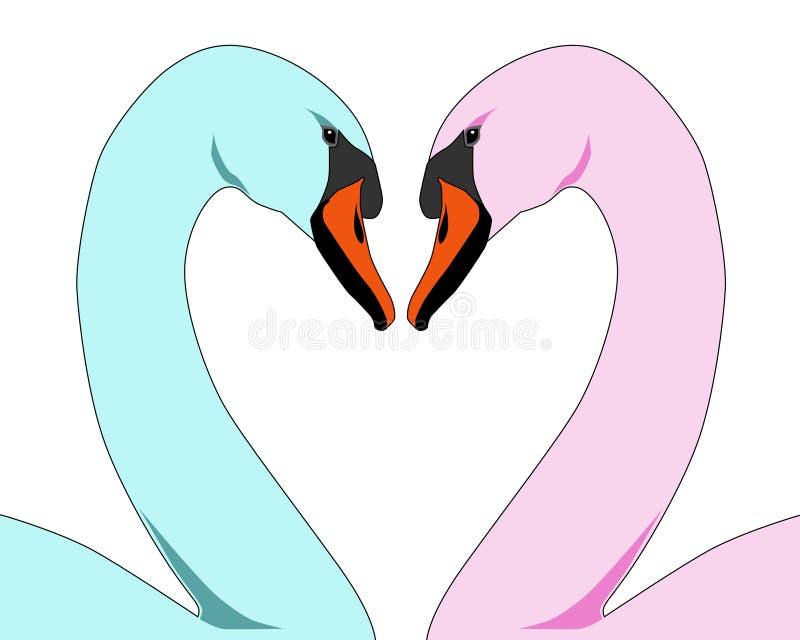 De gekleurde Zwanen van de Liefde royalty-vrije illustratie
