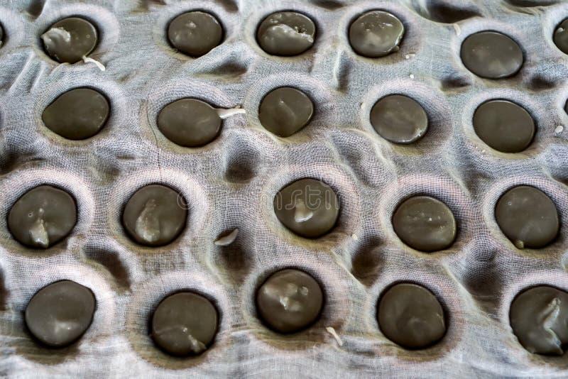 De gekookte suiker van suikerpalm giet neer op aardewerkkop Behandeld met witte doek stock foto's