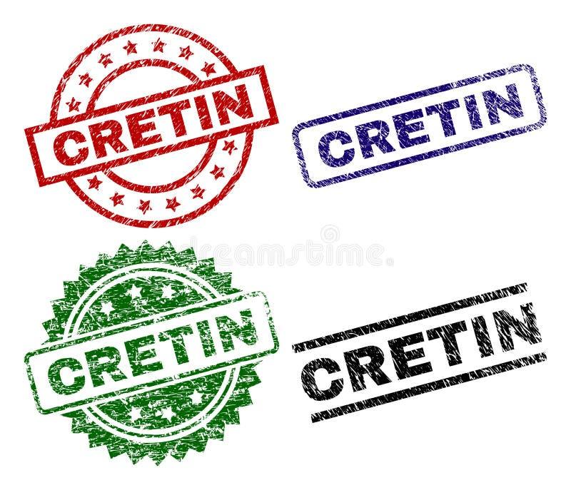 De gekraste Geweven Verbindingen van de CRETINzegel vector illustratie