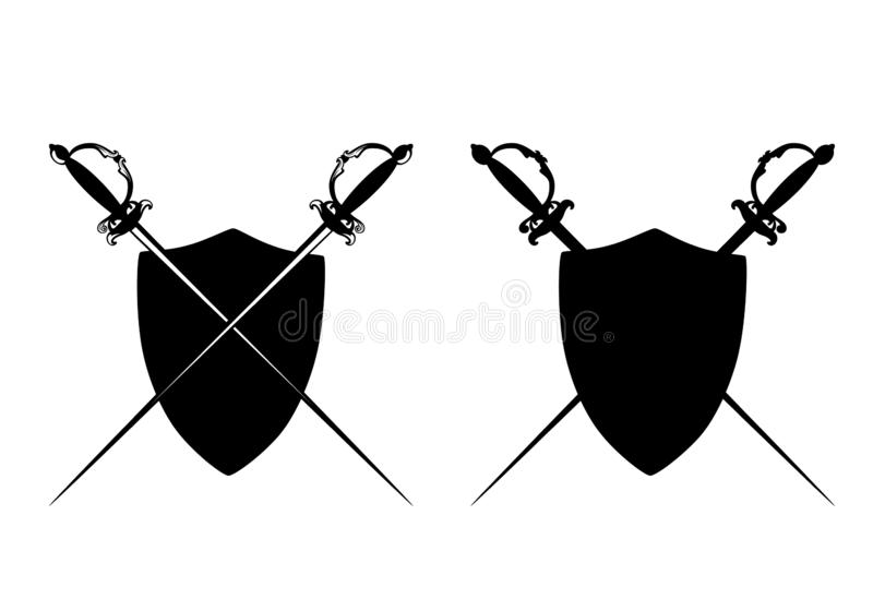 De gekruiste vector heraldische emblemen van degenzwaarden vector illustratie