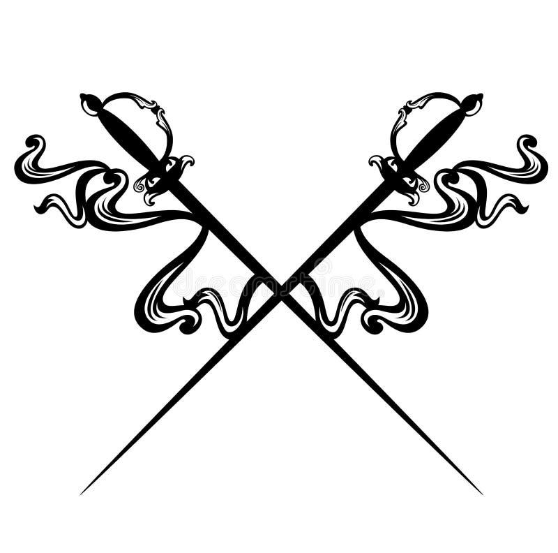 De gekruiste zwart-witte vector van degenzwaarden royalty-vrije illustratie