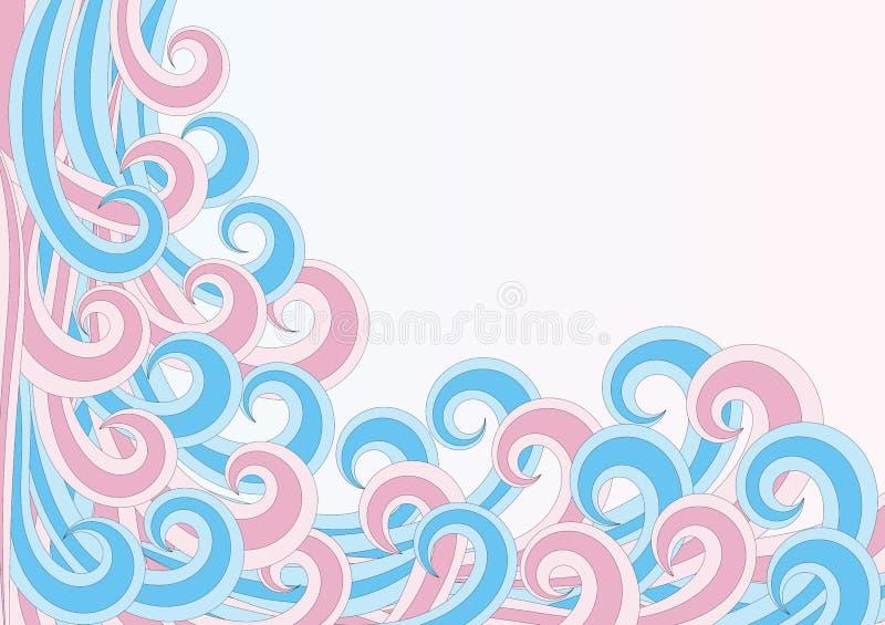 De gekrulde golven of grens van het haarkader royalty-vrije illustratie
