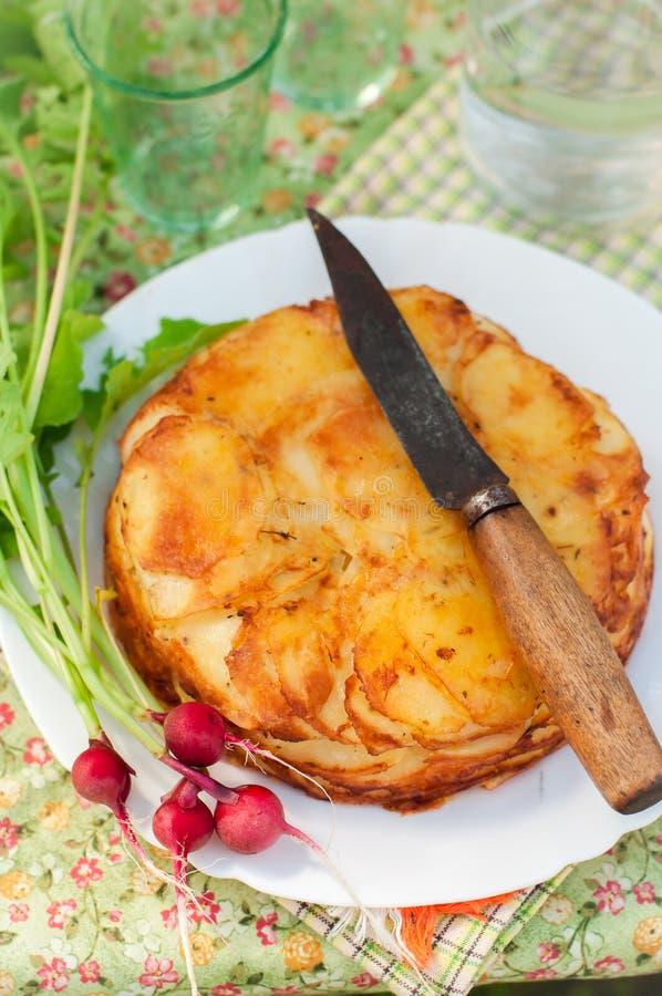 De gelaagde Aardappel bakt stock foto