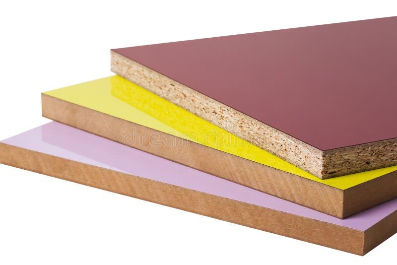 De gelamineerde particleboard spaanplaat wordt gebruikt in het meubilair Ind. royalty-vrije stock afbeelding