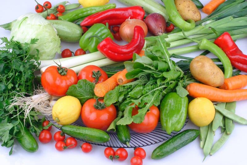 De gelatine, de Hoop van verse vruchten en de groenten sluiten omhoog stock afbeelding