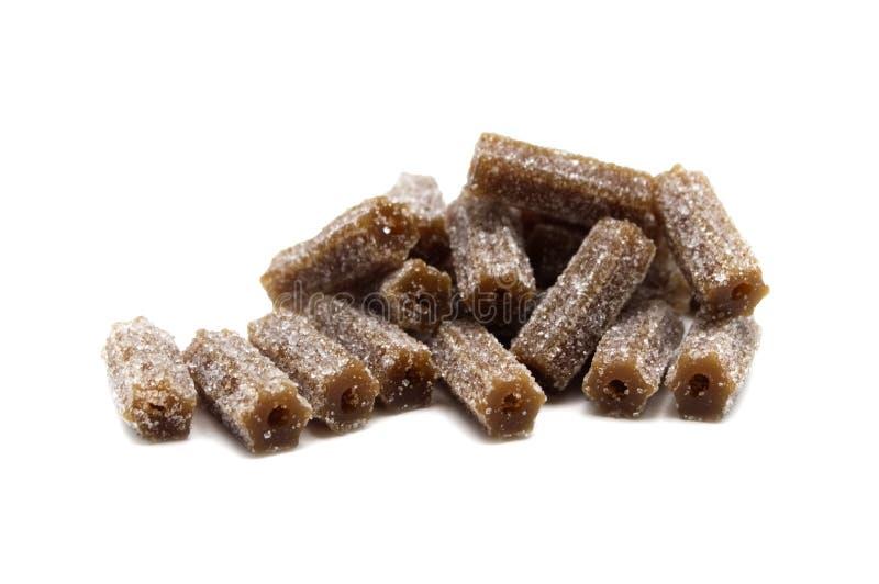 De gelatine zet suikergoedkola op gelei op smaak bracht bars stock afbeelding