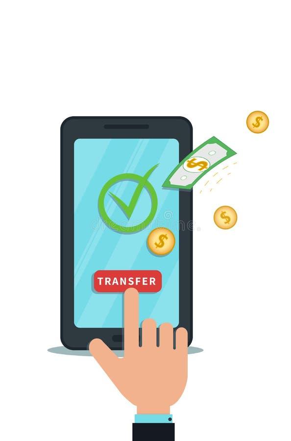 De geldoverdracht, ontvangt met mobiele toepassing Succesvolle banktransactie Digitale portefeuille Vlakke smartphone met vinkje stock illustratie