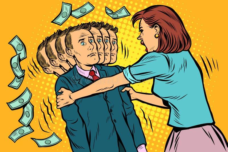 De geldvraag De vrouw schudt haar echtgenoot Vrouwen en mannen ongelijke relaties, benutting vector illustratie