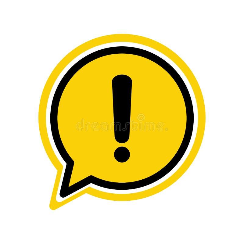 De gele aandacht of uitroep van de gevaars de waarschuwing ondertekent in een van de het pictogram vectorillustratie van de toesp royalty-vrije illustratie