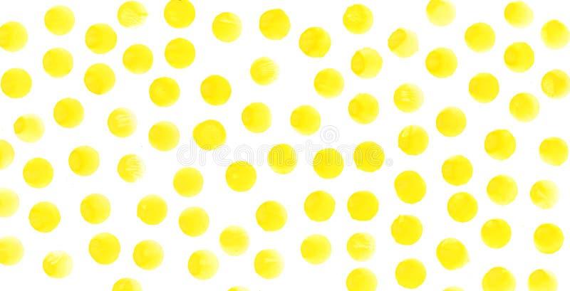 De gele achtergrond van de cirkelswaterverf De abstracte hand geschilderde cirkels van waterverftexturen stock afbeeldingen