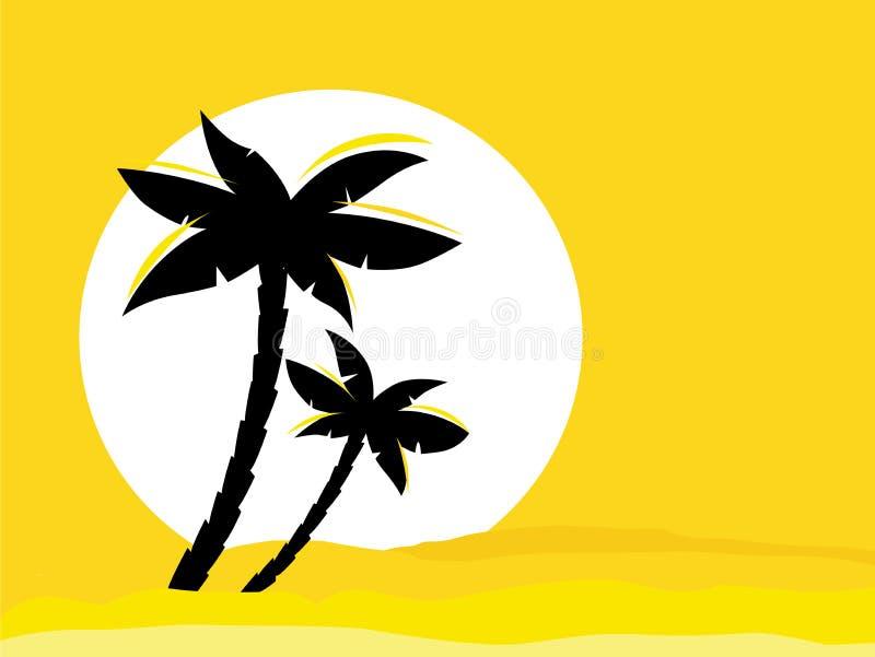 De gele achtergrond van de woestijnzonsopgang met zwarte palm vector illustratie