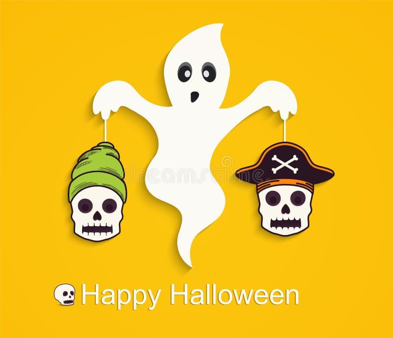 De gele achtergrond van Halloween met enge spook en schedels royalty-vrije illustratie