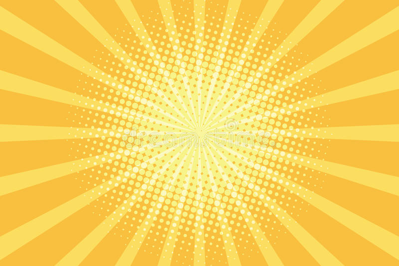 De gele achtergrond van het stralenpop-art stock illustratie