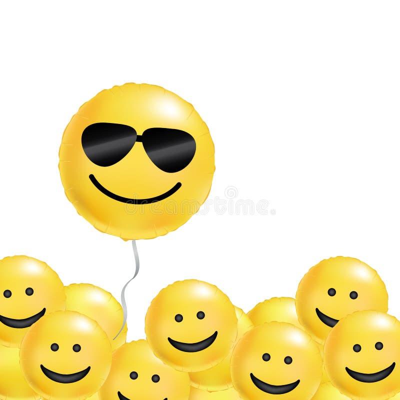 De gele ballons koelen glimlach royalty-vrije illustratie