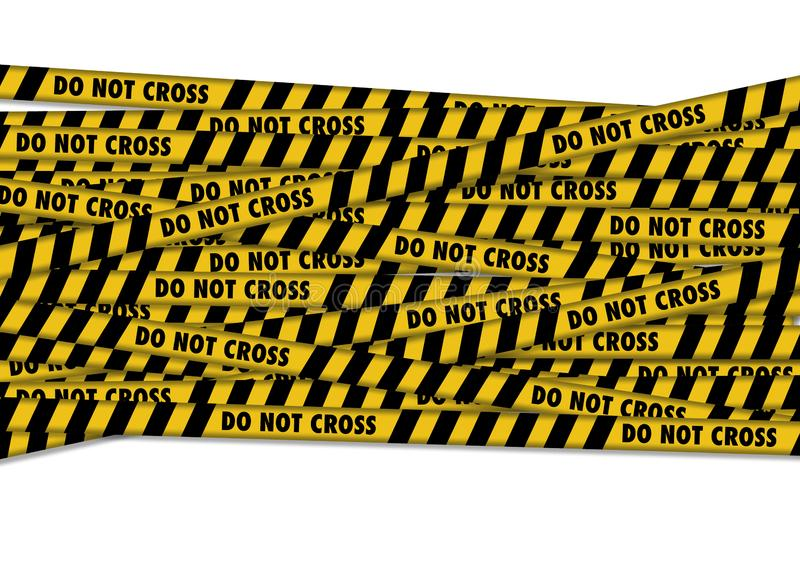 De gele band met politielijn kruist geen tekst stock illustratie