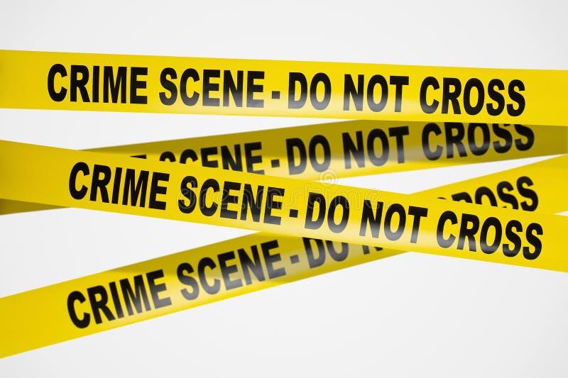 De gele band van de misdaadscène op witte achtergrond royalty-vrije stock foto's