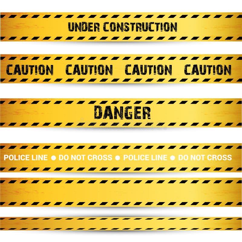 De gele banden van de veiligheidswaarschuwing geplaatst Voorzichtigheid royalty-vrije illustratie