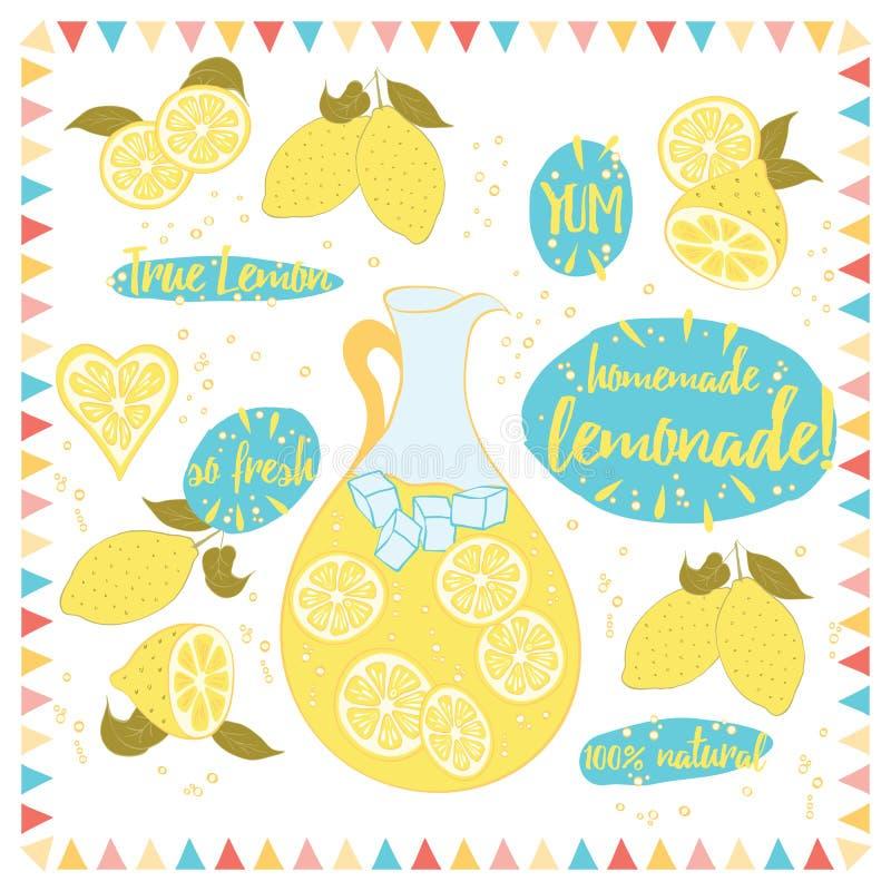 De gele banner met limonade en het is ingrediënten Citroen, kruik, ijshand het van letters voorzien woorden 'Eigengemaakte Limona stock illustratie