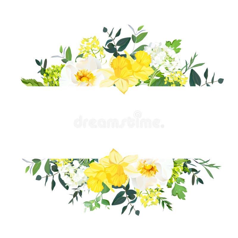 De gele banner van het huwelijks horizontale botanische vectorontwerp vector illustratie