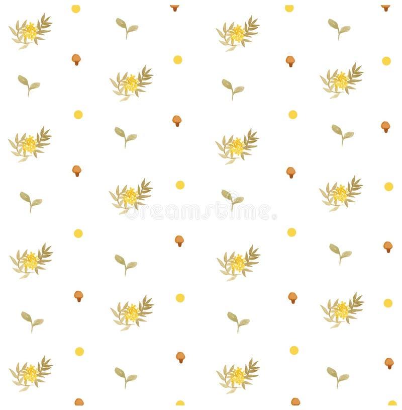 De gele Bloemenlente en paddestoel Naadloos Patroon stock afbeelding