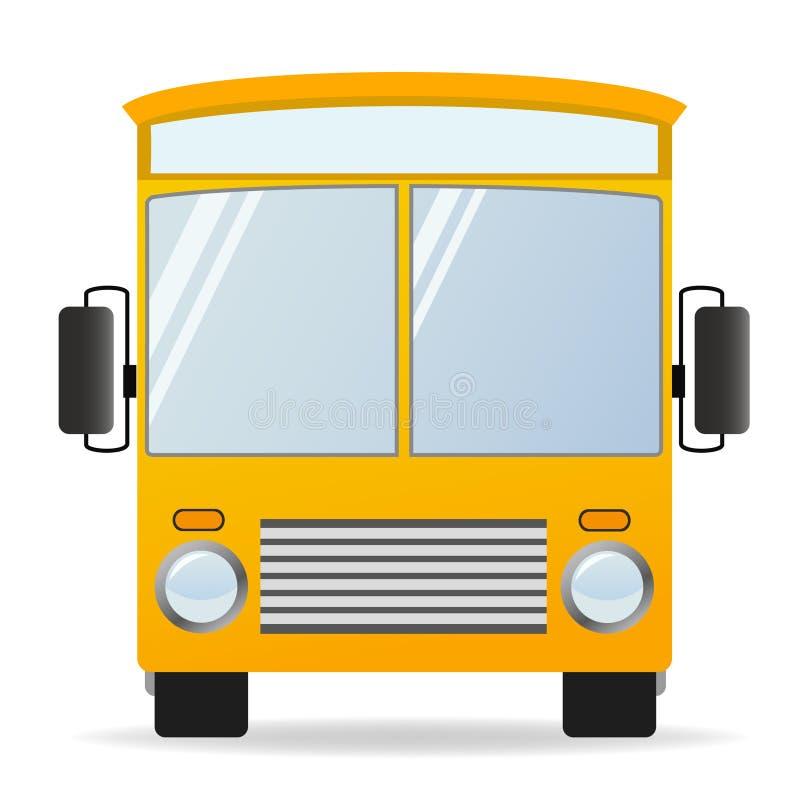 De gele bus van het beeldverhaal in vooraanzicht stock illustratie