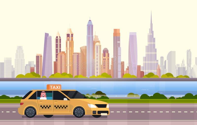 De gele Cabine van de Taxiauto op Weg over de Stadsachtergrond van Doubai vector illustratie