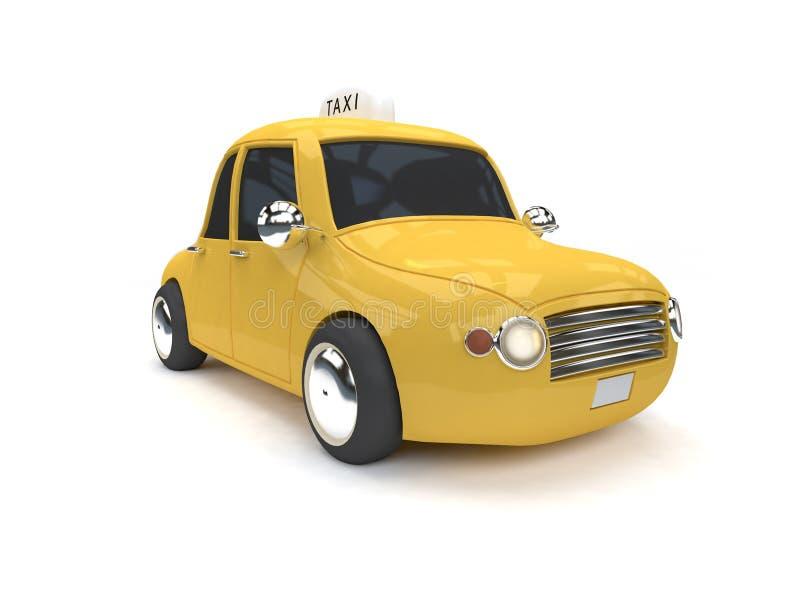 De gele 3d de stijl witte achtergrond van de taxi klassieke auto geeft beeldverhaalstijl terug vector illustratie