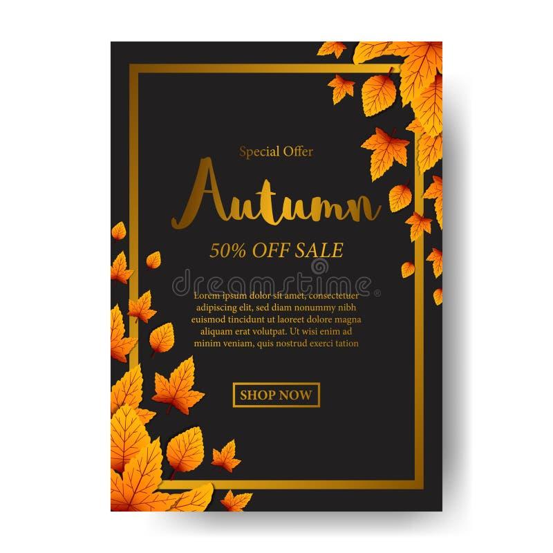 De gele daling van de Herfstbladeren met zwarte achtergrond het malplaatje van de afficheverkoop Vector illustratie royalty-vrije illustratie