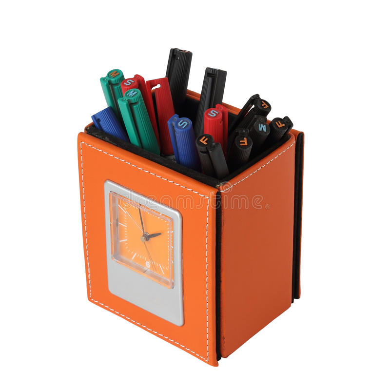 De gele doos van de leerpen met klok royalty-vrije stock afbeelding