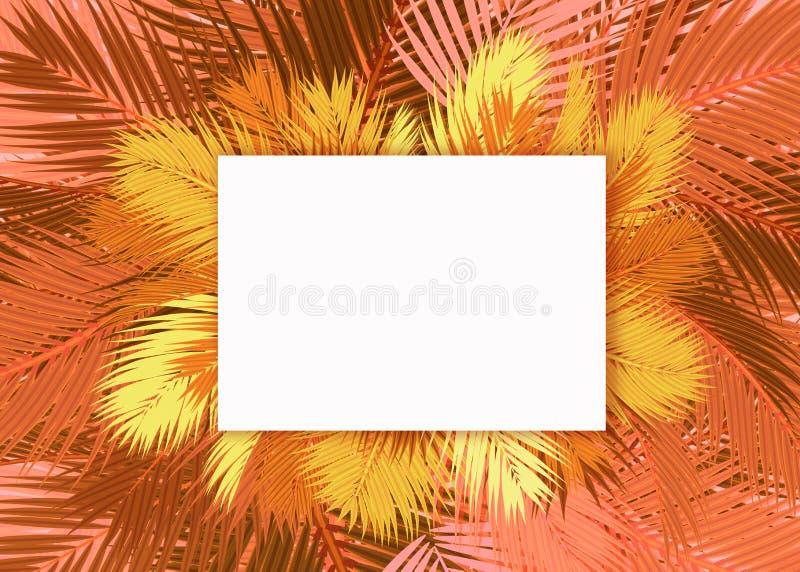 De gele en gouden Palmen doorbladert leeg kaartconcept als achtergrond vector illustratie