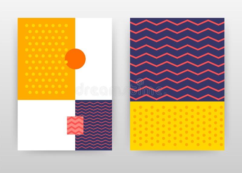 De gele gestippelde geometrische zigzag stippelde bedrijfs achtergrondontwerp voor jaarverslag, brochure, vlieger, affiche Meetku stock illustratie