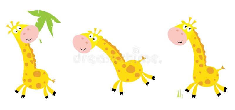 De gele giraf in 3 stelt royalty-vrije illustratie
