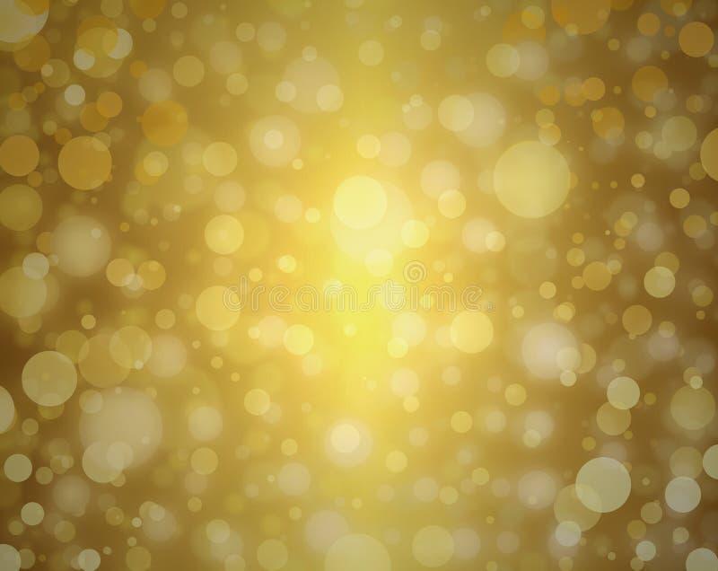 De gele gouden bellen achtergrond witte Kerstmislichten vertroebelden ontwerp van de achtergronddecor het elegante viering royalty-vrije stock foto